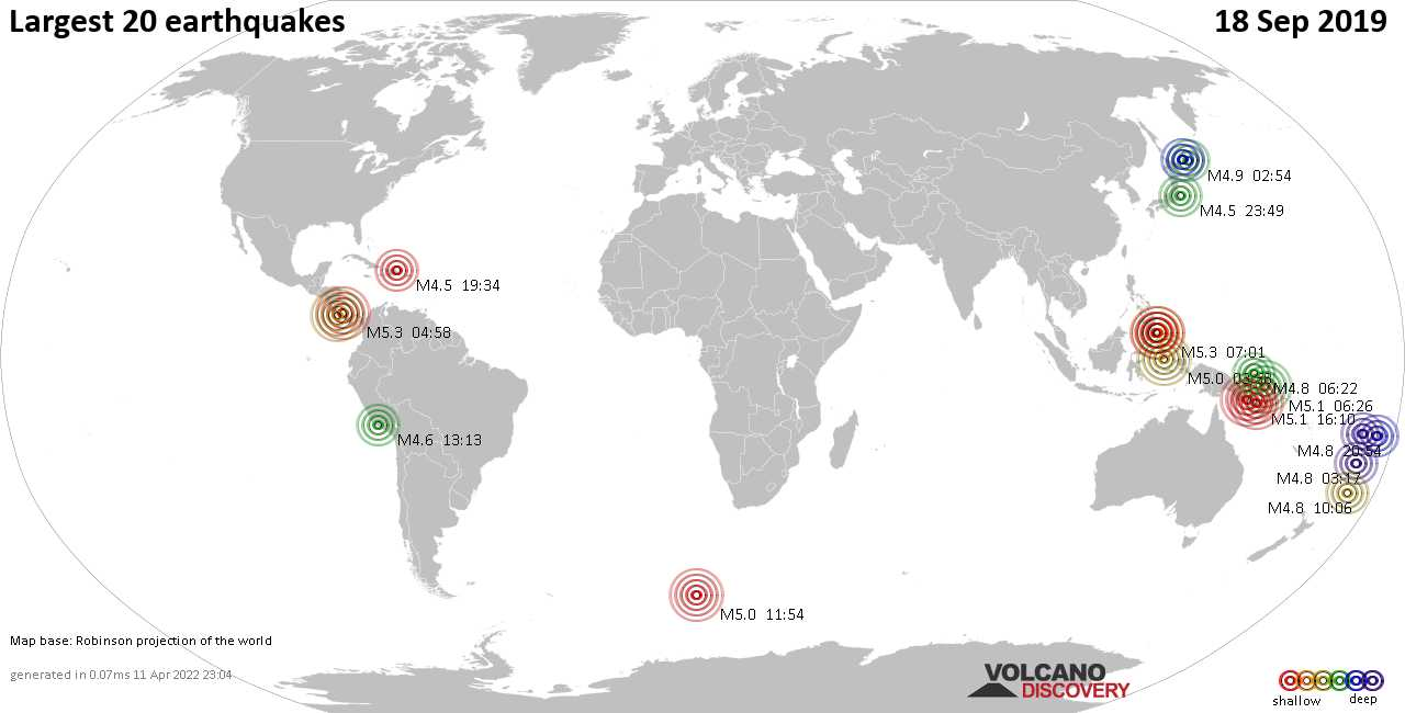 List, maps and statistics of the 20 largest earthquakes on Mittwoch, 18 Sep 2019