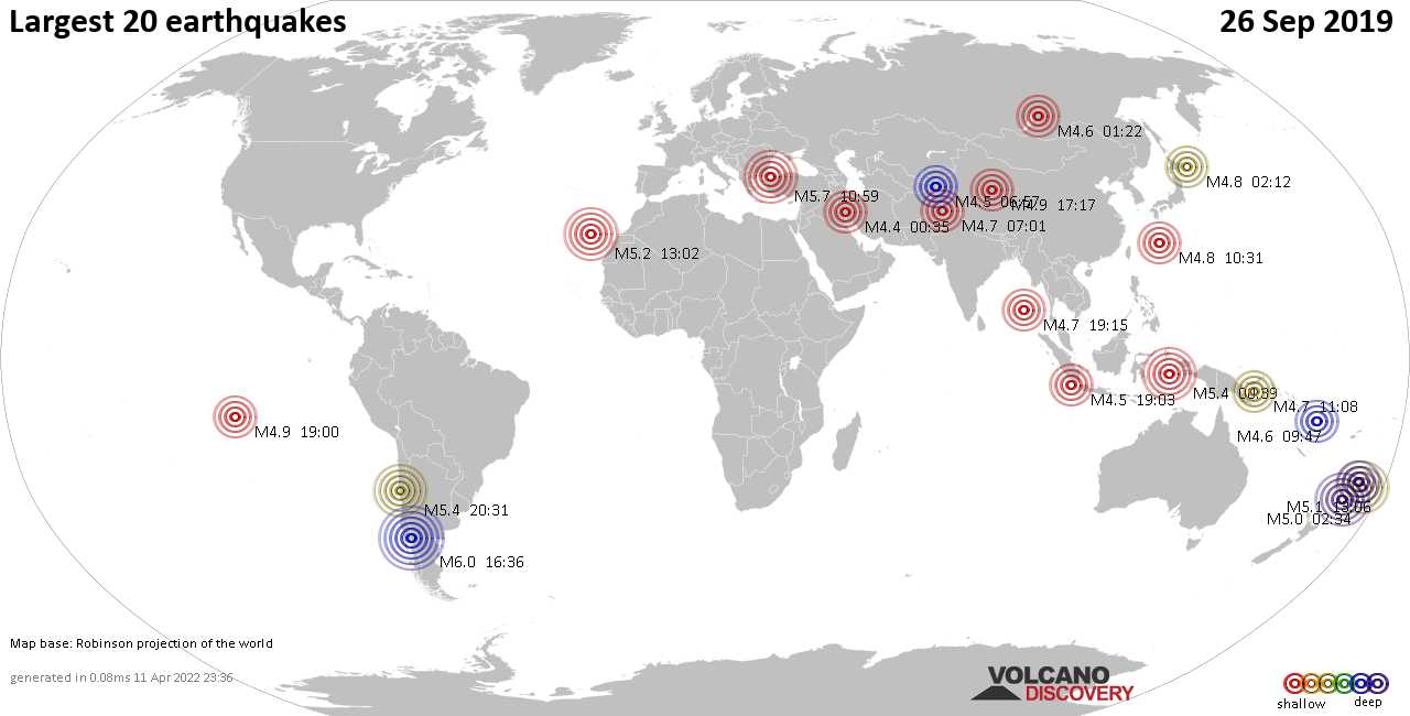 List, maps and statistics of the 20 largest earthquakes on Thursday, 26 Sep 2019