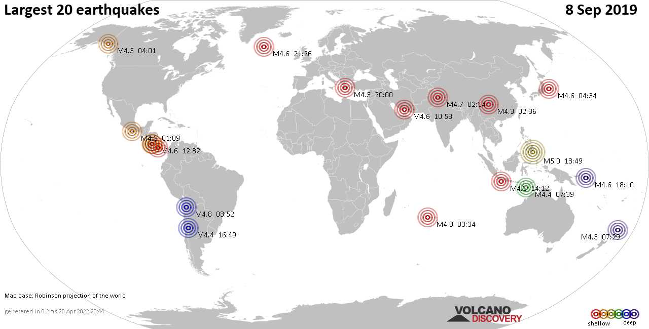 List, maps and statistics of the 20 largest earthquakes on Sunday,  8 Sep 2019