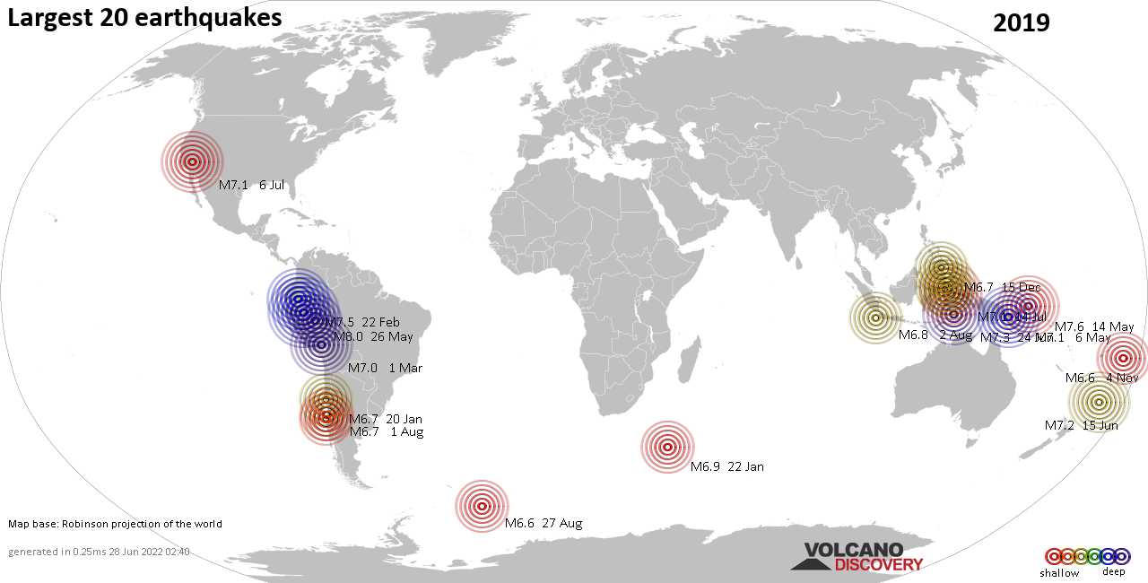 List, maps and statistics of the 20 largest earthquakes in 2019