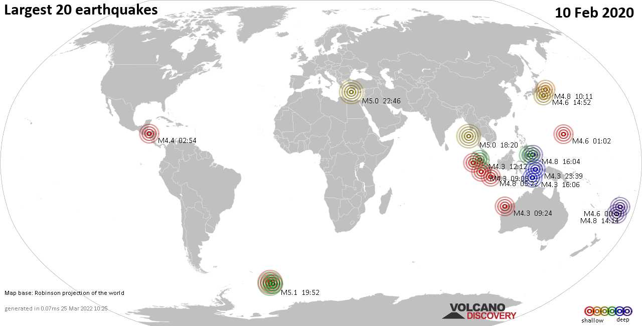 List, maps and statistics of the 20 largest earthquakes on Monday, 10 Feb 2020