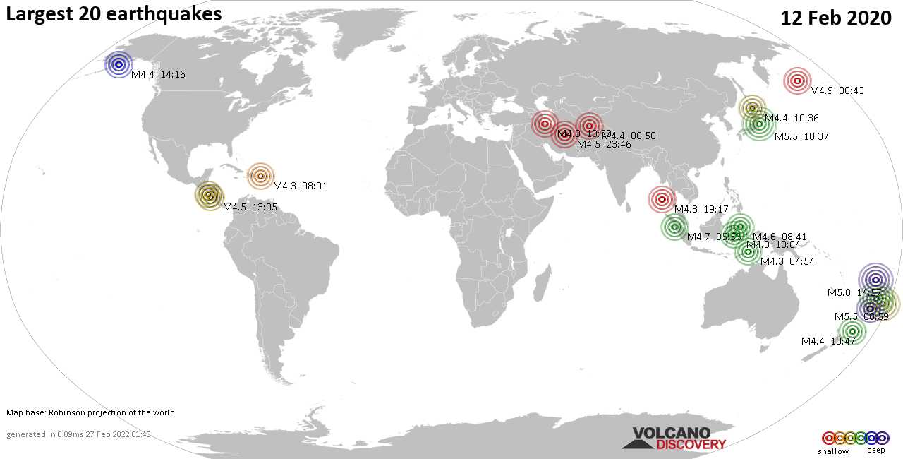 List, maps and statistics of the 20 largest earthquakes on Wednesday, 12 Feb 2020