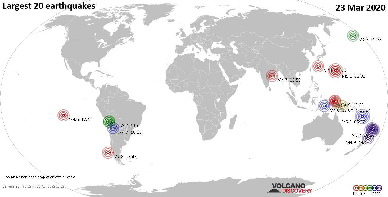 List, maps and statistics of the 20 largest earthquakes on Monday, 23 Mar 2020