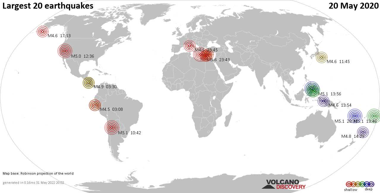 List, maps and statistics of the 20 largest earthquakes on Wednesday, 20 May 2020