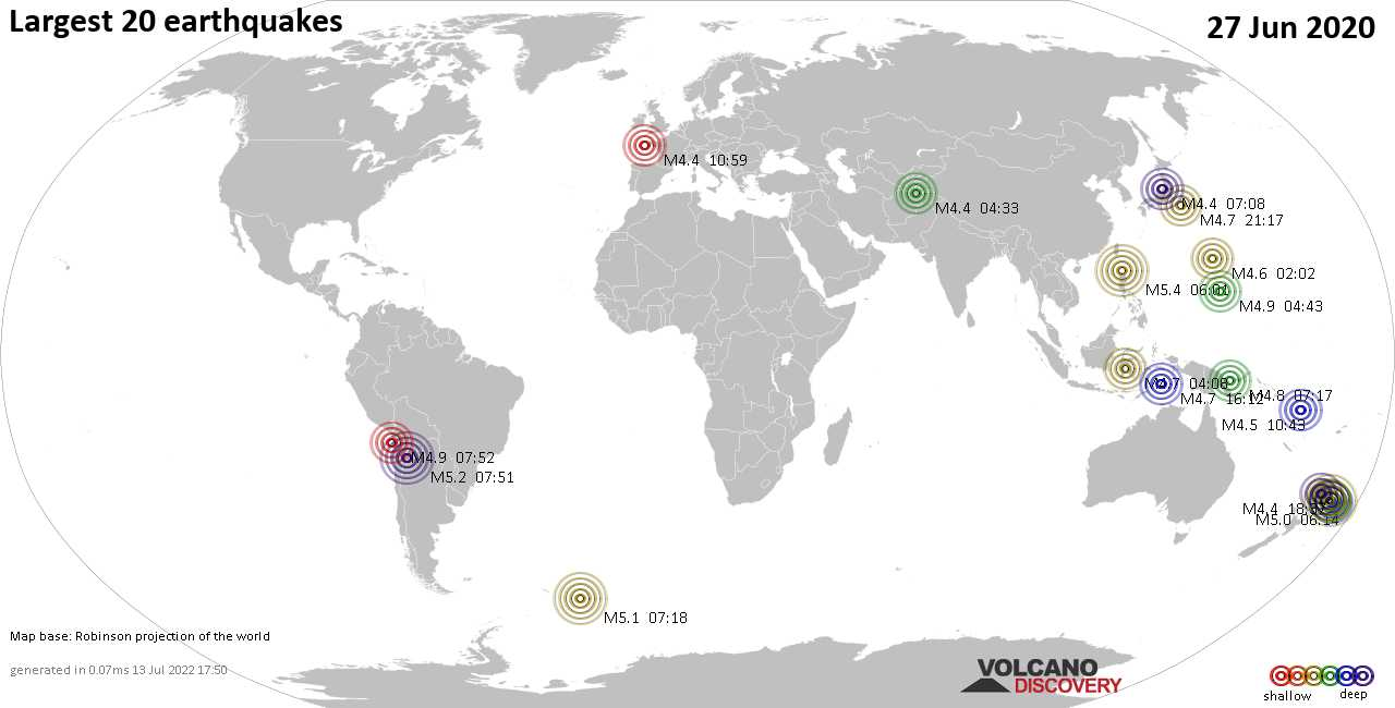 List, maps and statistics of the 20 largest earthquakes on Saturday, 27 Jun 2020