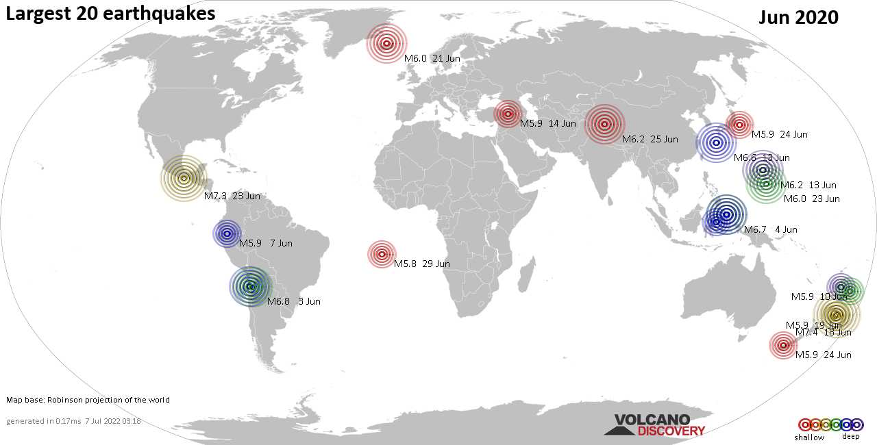 List, maps and statistics of the 20 largest earthquakes in Jun 2020