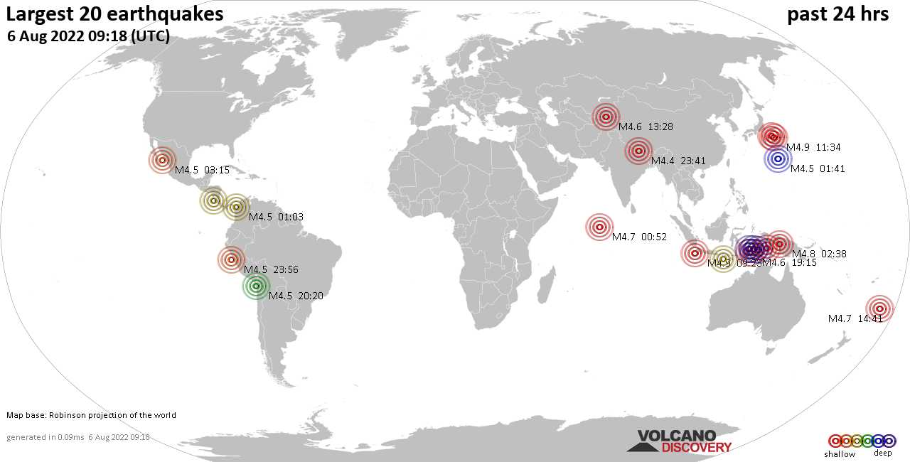Earthquakes Today latest earthquakes world-wide during the