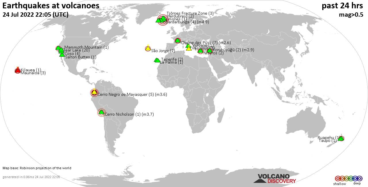 Shallow earthquakes near active volcanoes during the past 24