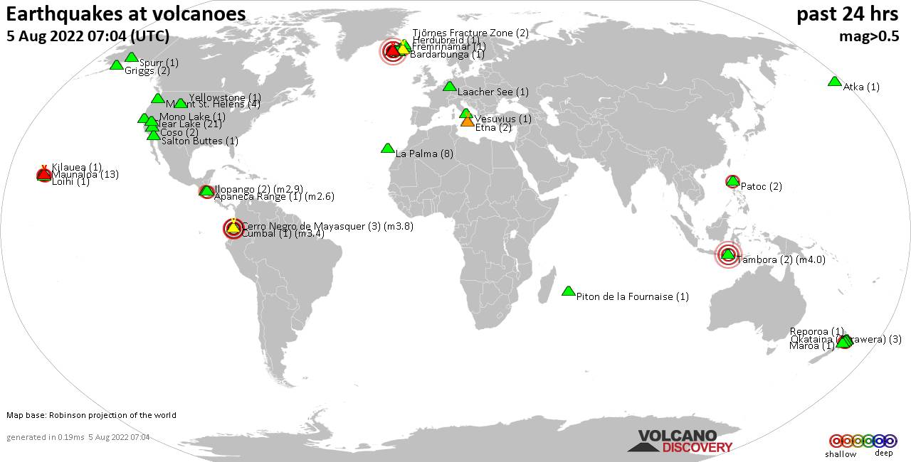 Shallow earthquakes near active volcanoes during the past 24 hours (update 20:43, Friday, 15 Nov 2019)