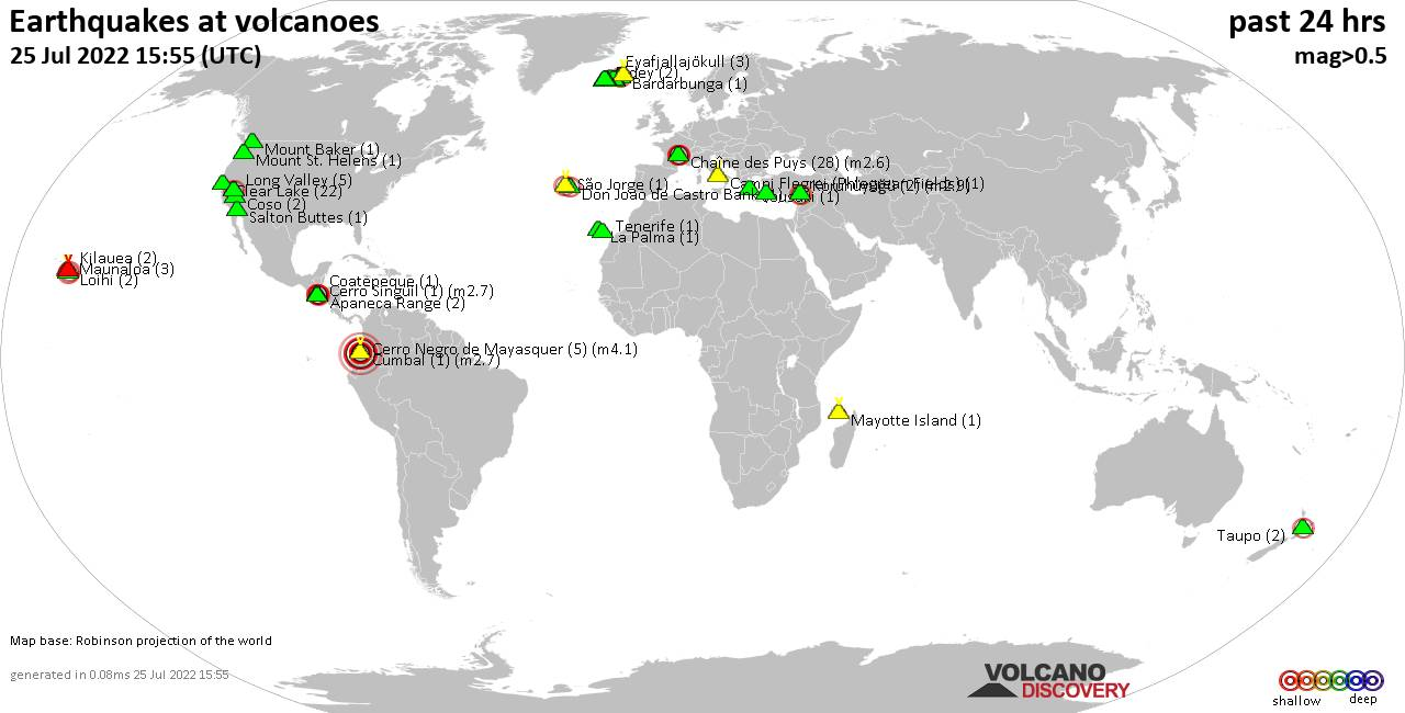 Shallow earthquakes near active volcanoes during the past 24 hours (update 09:24, Wednesday, 20 Nov 2019)