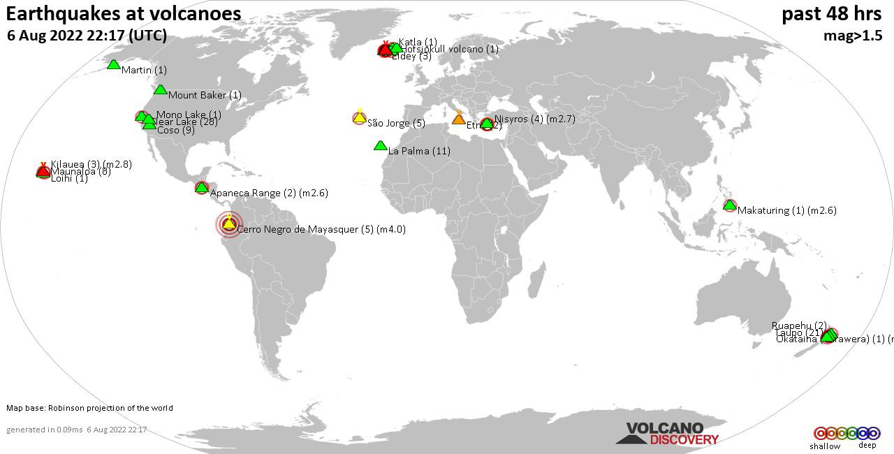 Shallow earthquakes near active volcanoes during the past 48 hours (update 22:57, Tuesday, 21 May 2019)
