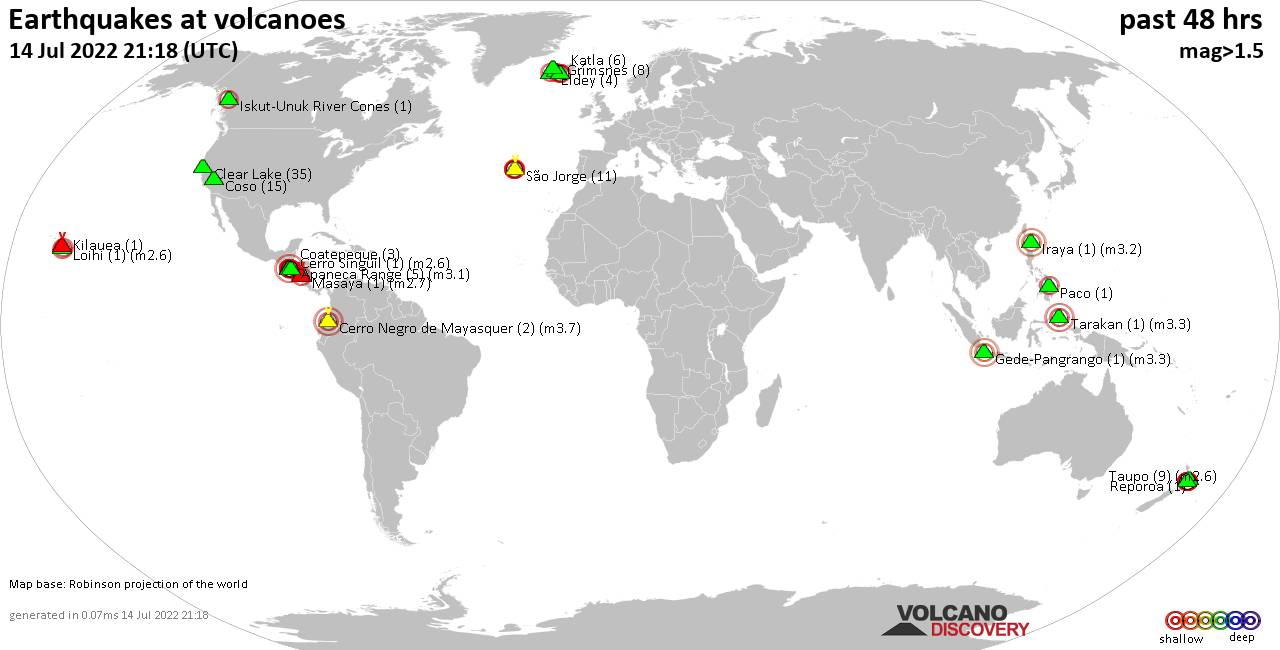 Shallow earthquakes near active volcanoes during the past 48 hours (update 08:48, Четверг, 27 июн 2019)