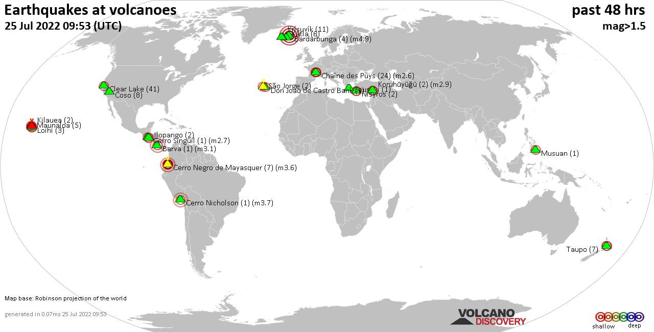 Shallow earthquakes near active volcanoes during the past 48 hours (update 18:26, Friday, 24 Jan 2020)