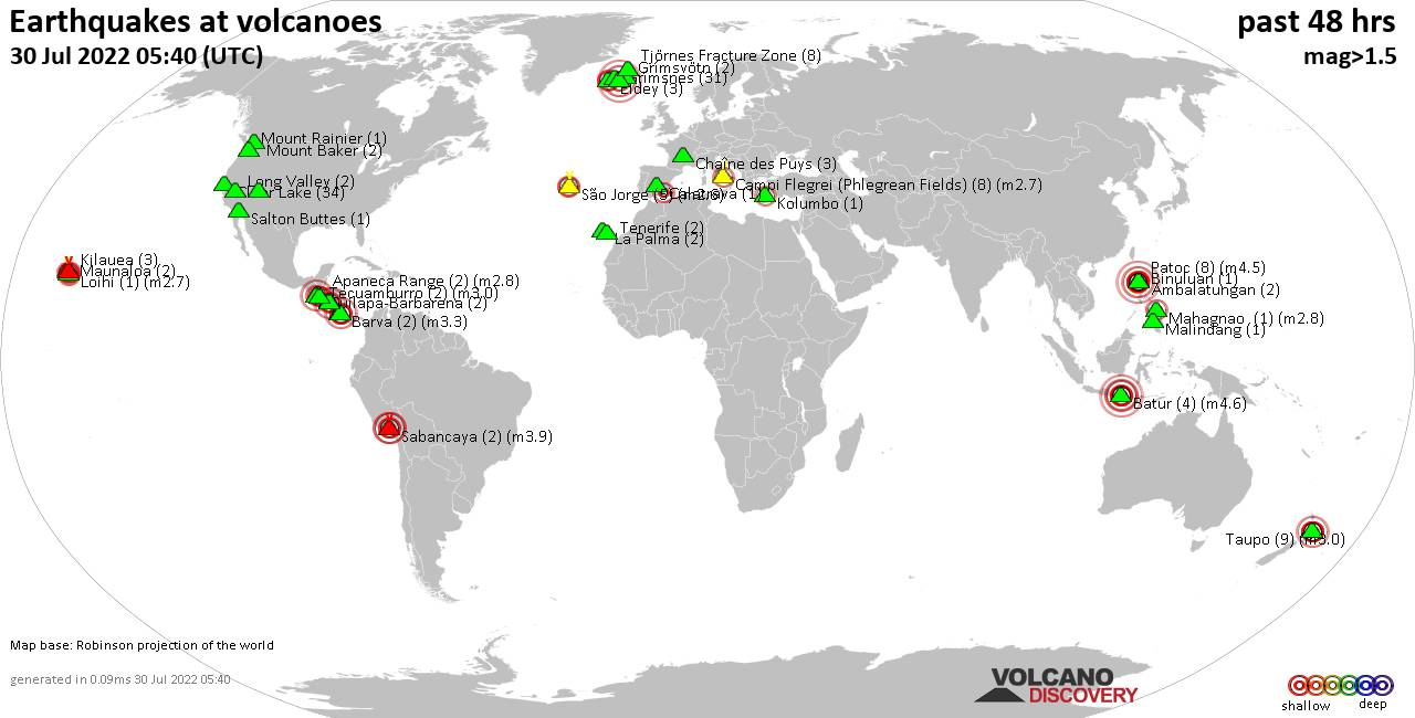 Shallow earthquakes near active volcanoes during the past 48 hours (update 03:39, martes, 18 feb 2020)