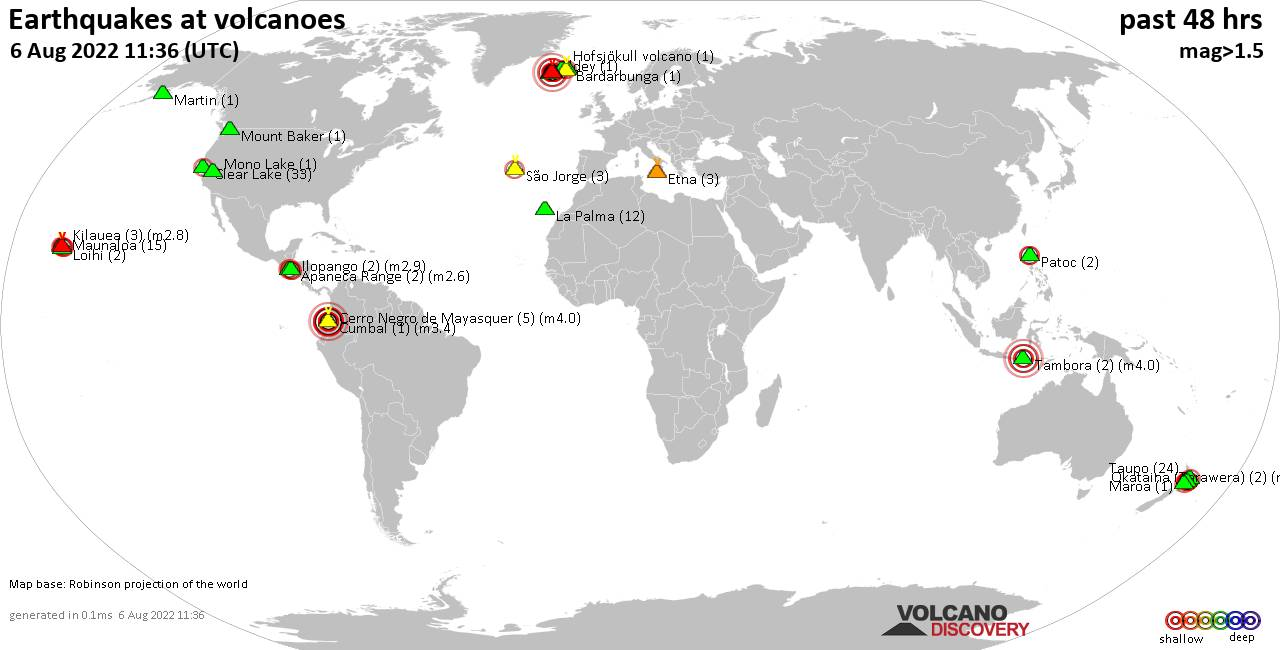 Shallow earthquakes near active volcanoes during the past 48 hours (update 03:52, martes, 18 feb 2020)