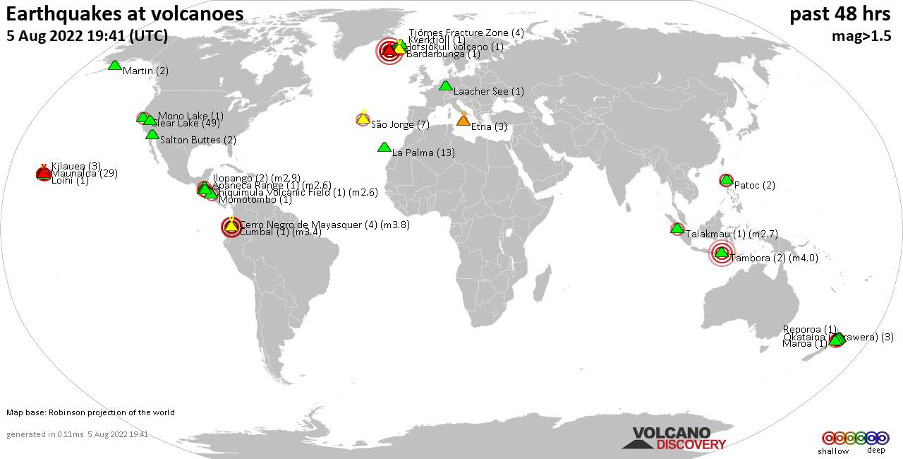 Shallow earthquakes near active volcanoes during the past 48 hours (update 08:51, martes, 18 feb 2020)