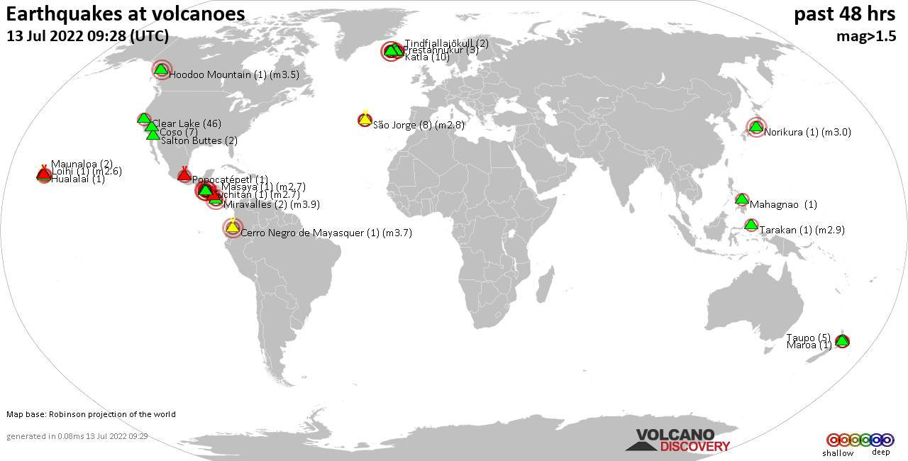 Shallow earthquakes near active volcanoes during the past 48 hours (update 04:15, Wednesday, 19 Feb 2020)