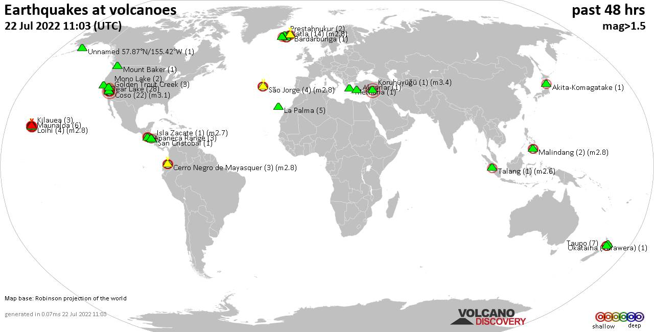 Shallow earthquakes near active volcanoes during the past 48 hours (update 02:30, jeudi, 20 févr. 2020)
