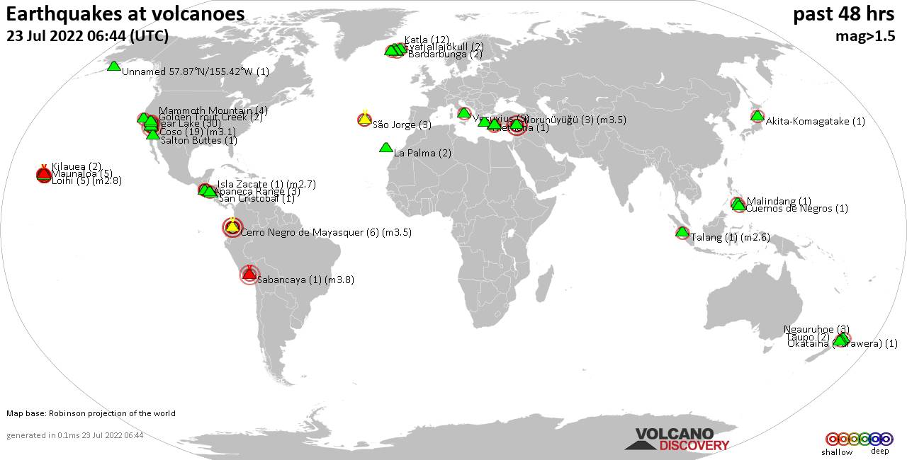 Shallow earthquakes near active volcanoes during the past 48 hours (update 04:11, jeudi, 20 févr. 2020)