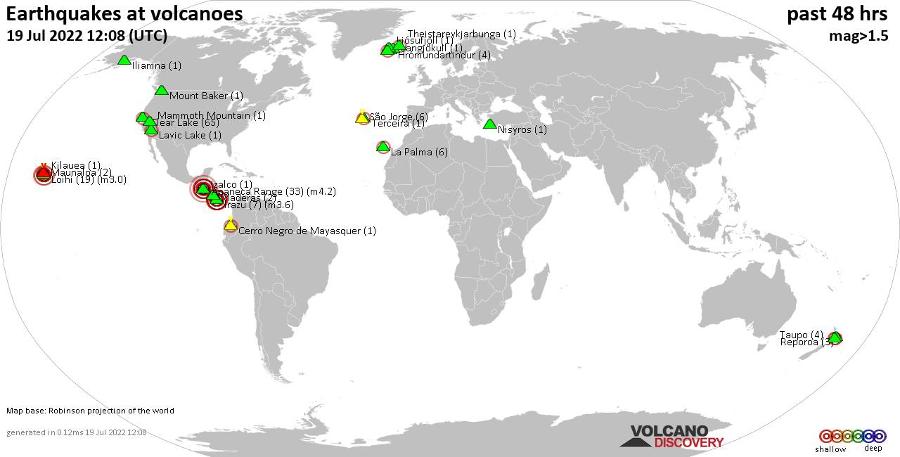 Shallow earthquakes near active volcanoes during the past 48 hours (update 05:58, jeudi, 20 févr. 2020)