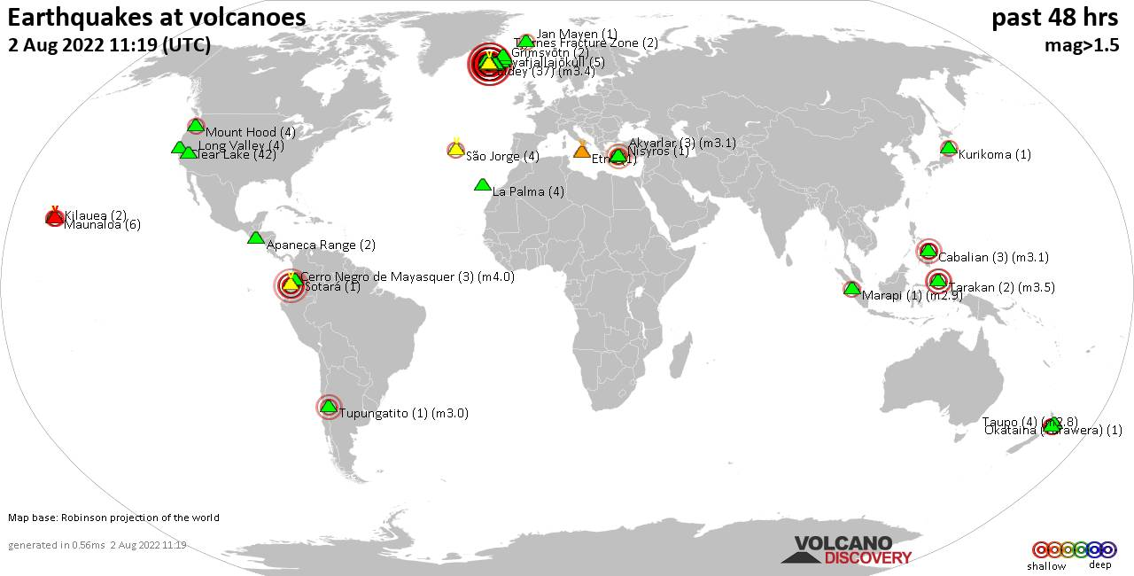 Shallow earthquakes near active volcanoes during the past 48 hours (update 06:25, Thursday, 20 Feb 2020)