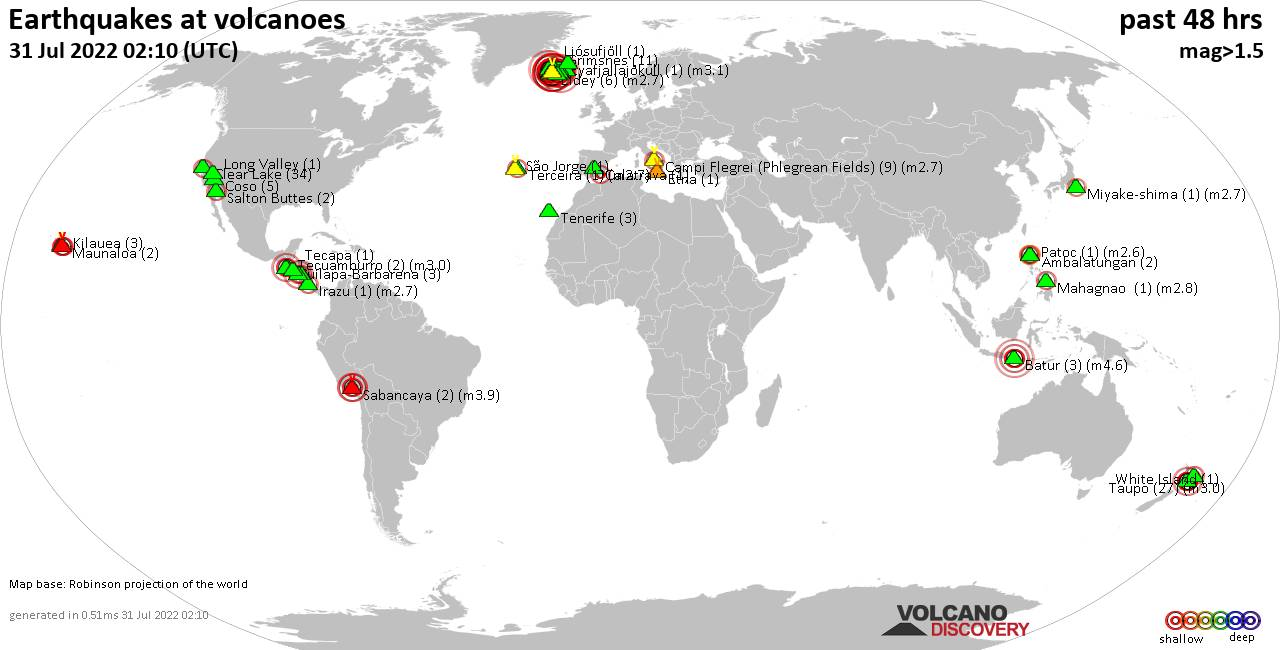 Shallow earthquakes near active volcanoes during the past 48 hours (update 16:35, jueves, 20 feb 2020)
