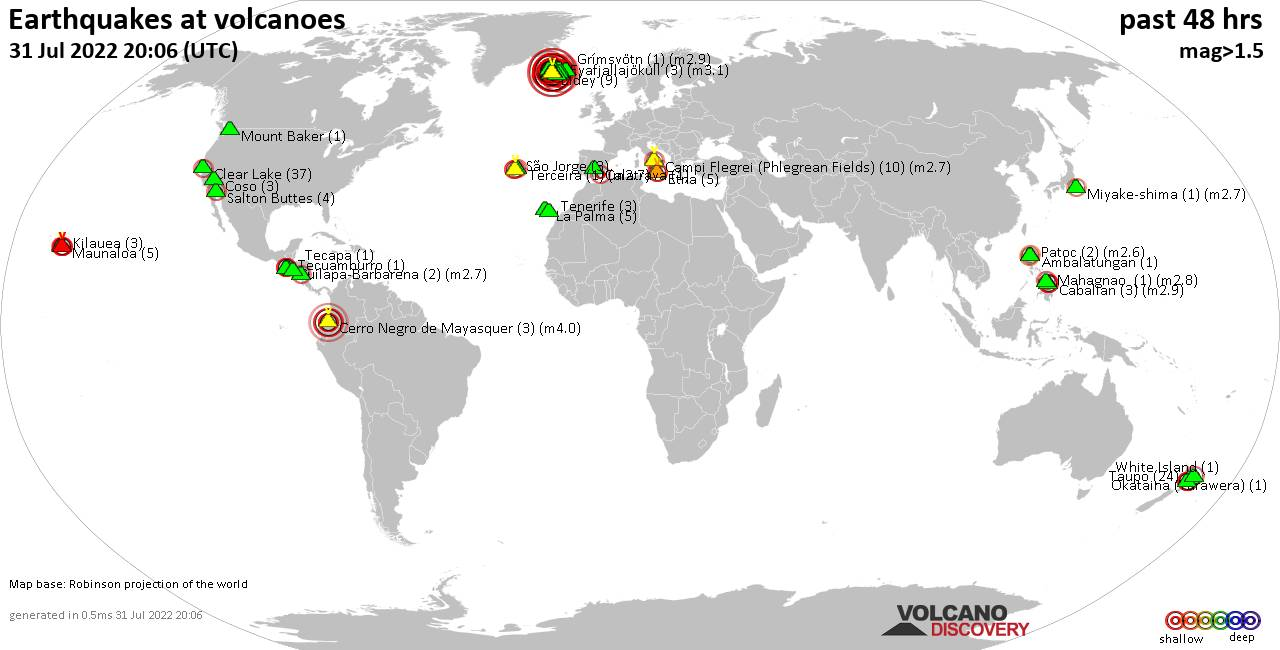 Shallow earthquakes near active volcanoes during the past 48 hours (update 16:41, samedi, 22 févr. 2020)
