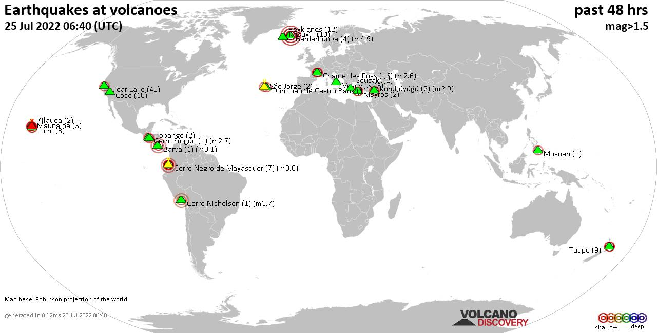 Shallow earthquakes near active volcanoes during the past 48 hours (update 17:09, samedi, 22 févr. 2020)