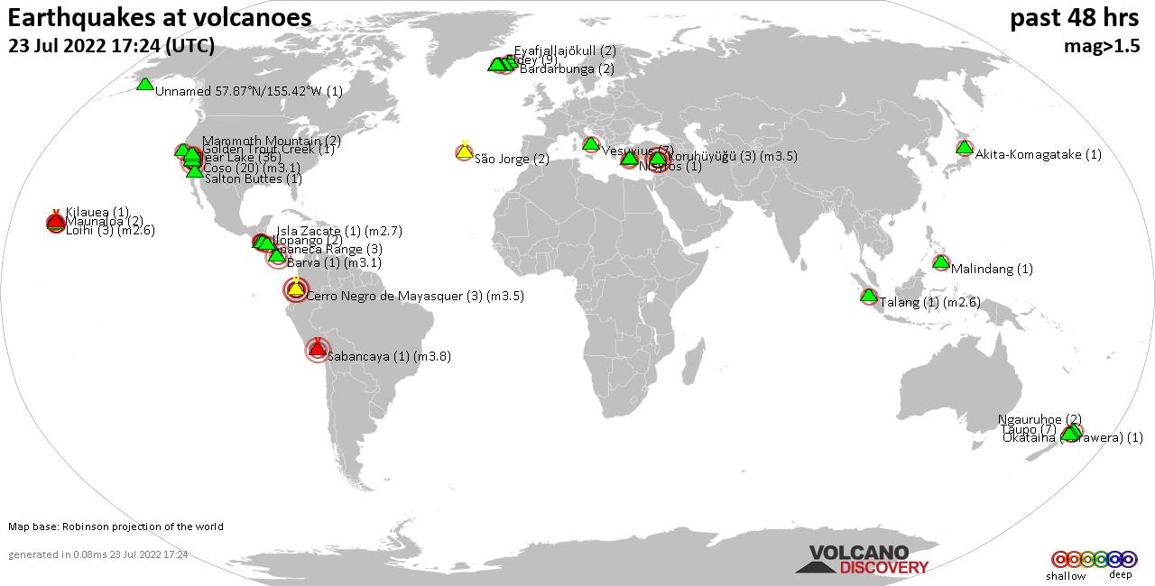 Shallow earthquakes near active volcanoes during the past 48 hours (update 11:40, dimanche, 23 févr. 2020)
