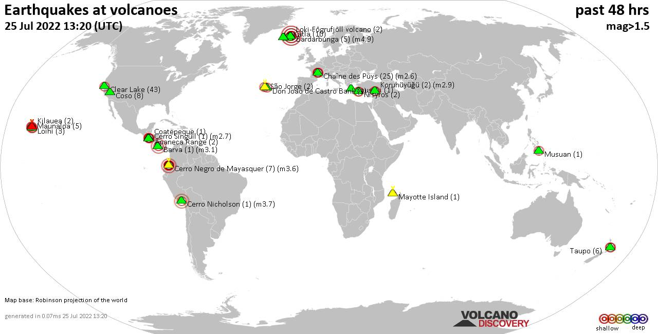 Shallow earthquakes near active volcanoes during the past 48 hours (update 12:05, domingo, 23 feb 2020)