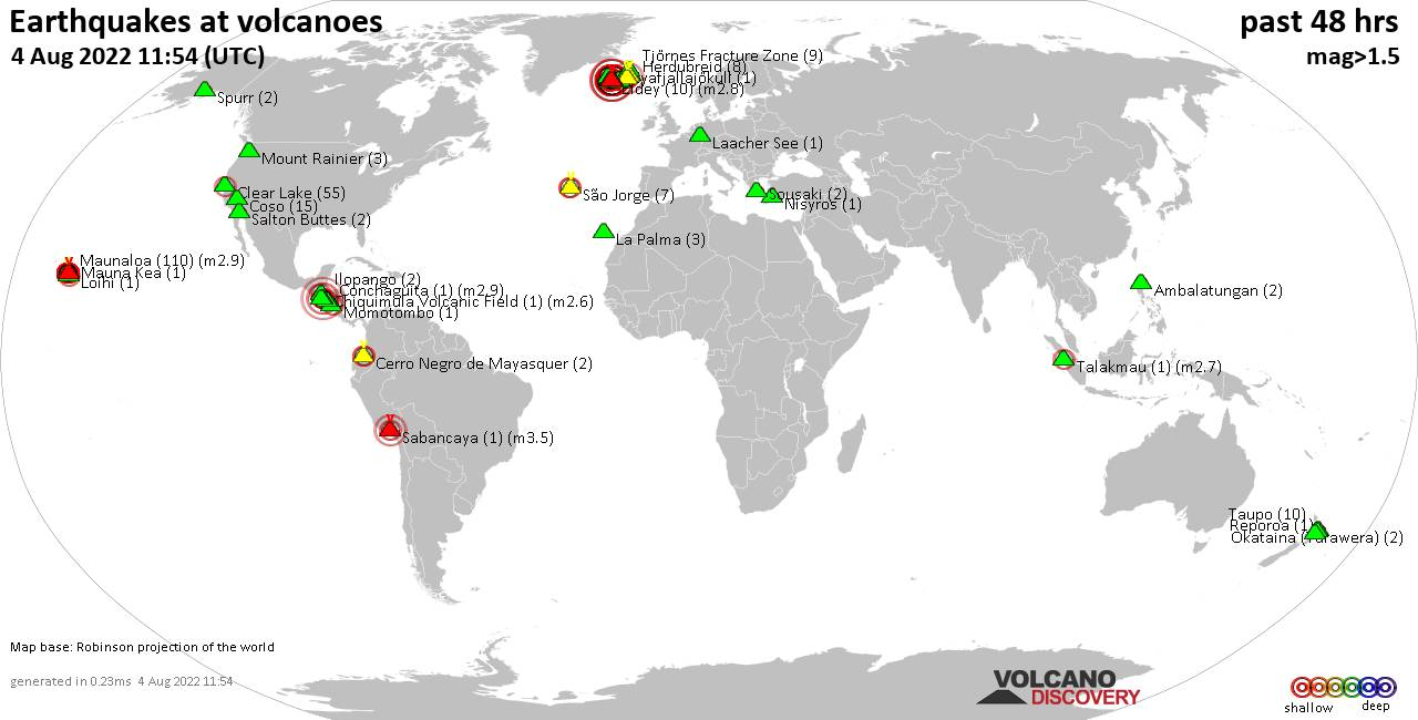 Shallow earthquakes near active volcanoes during the past 48 hours (update 15:29, lunes, 24 feb 2020)