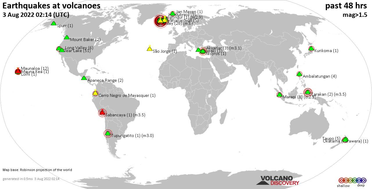 Shallow earthquakes near active volcanoes during the past 48 hours (update 18:58, jeudi, 27 févr. 2020)