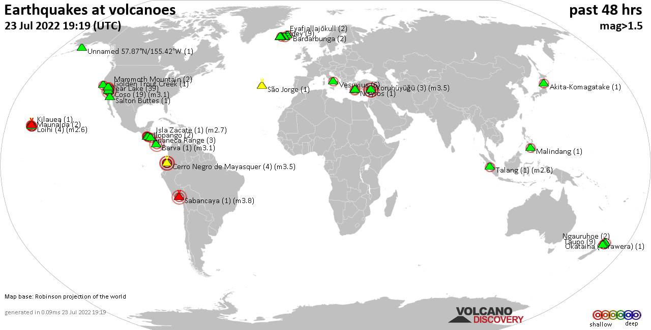 Shallow earthquakes near active volcanoes during the past 48 hours (update 06:19, Wednesday,  1 Apr 2020)