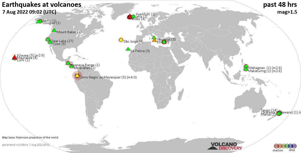 Shallow earthquakes near active volcanoes during the past 48 hours (update 07:02, Sunday,  5 Apr 2020)