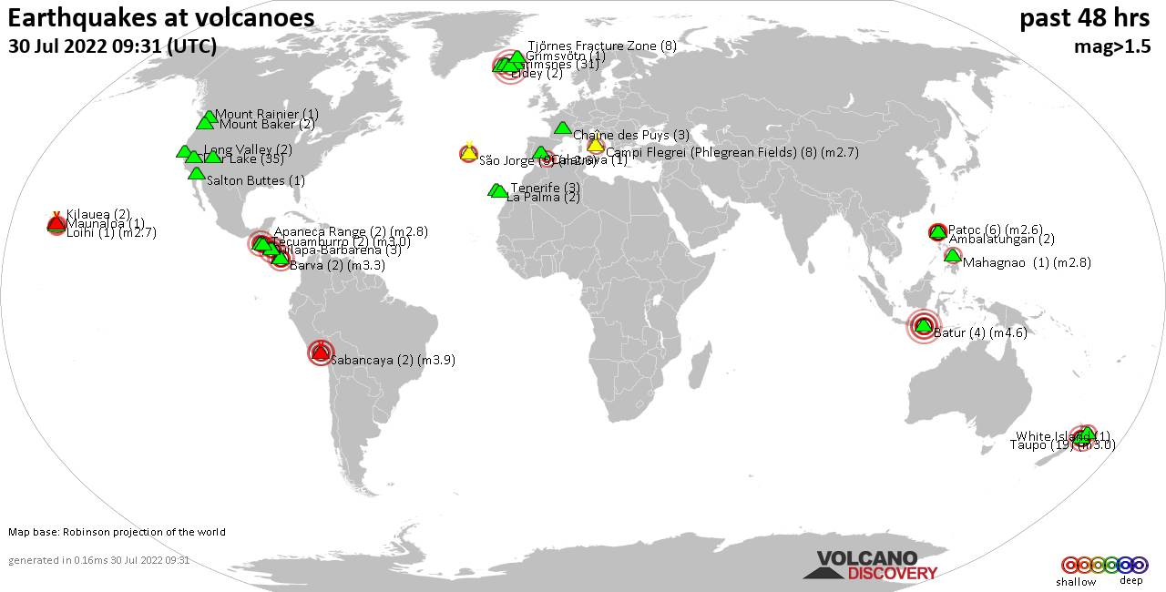 Shallow earthquakes near active volcanoes during the past 48 hours (update 21:36, jueves,  9 abr 2020)