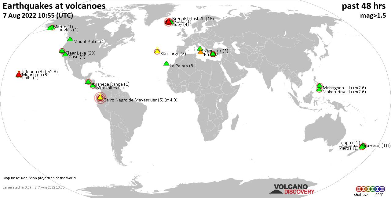 Shallow earthquakes near active volcanoes during the past 48 hours (update 22:20, Sunday, 24 May 2020)