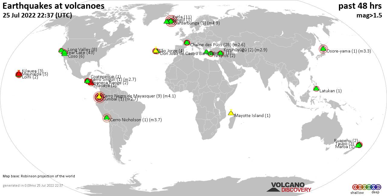 Shallow earthquakes near active volcanoes during the past 48 hours (update 11:22, Thursday,  9 Jul 2020)