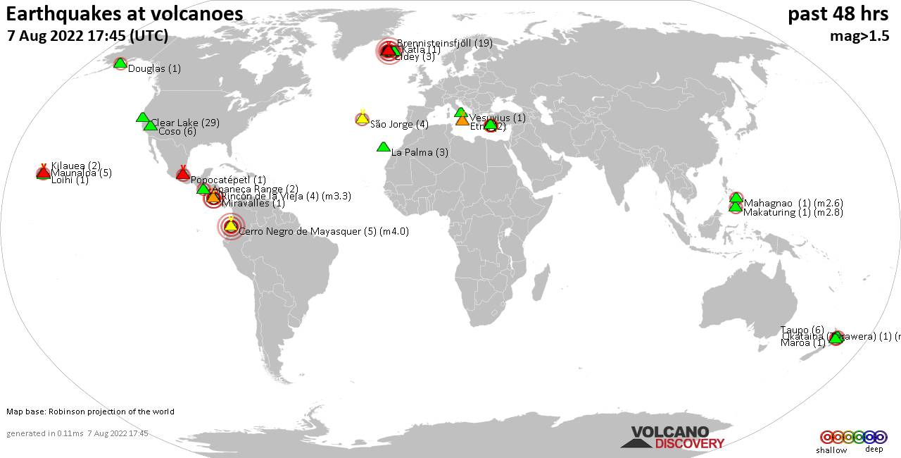 Shallow earthquakes near active volcanoes during the past 48 hours (update 20:36, Tuesday,  4 Aug 2020)