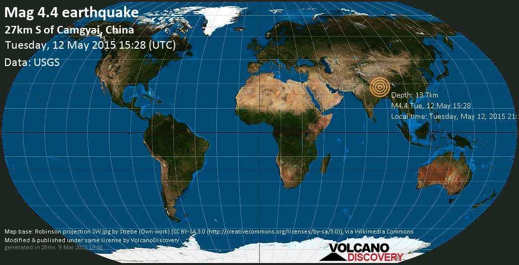 Light mag. 4.4 earthquake  - 27km S of Camgyai, China on Tuesday, 12 May 2015