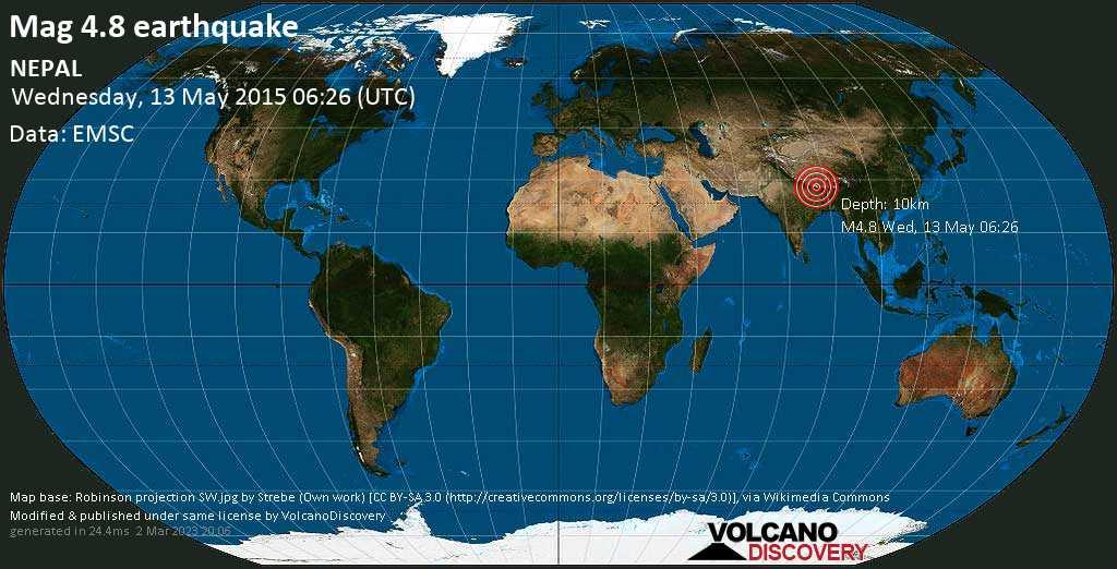 Light mag. 4.8 earthquake  - NEPAL on Wednesday, 13 May 2015