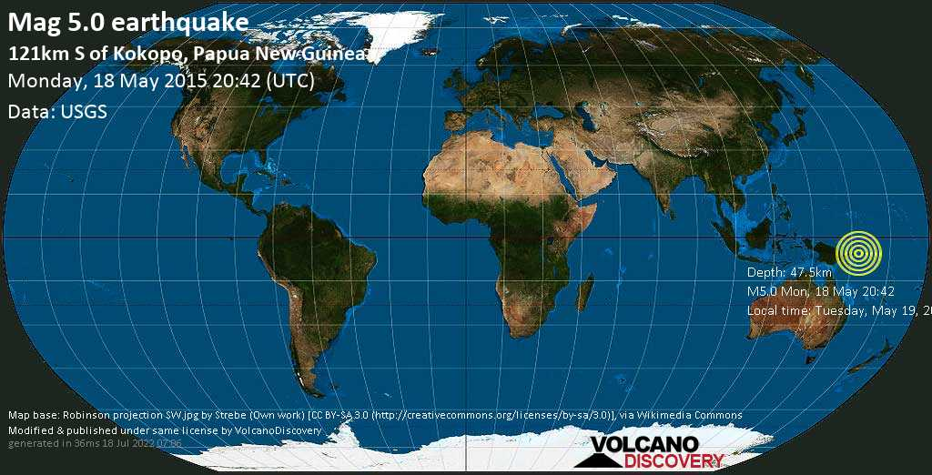 Moderate mag. 5.0 earthquake  - 121km S of Kokopo, Papua New Guinea on Monday, 18 May 2015