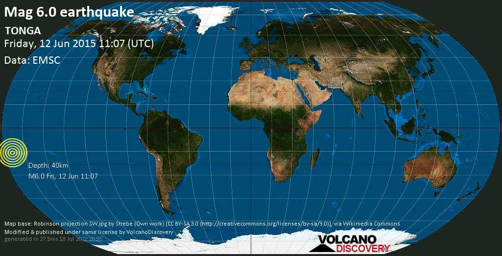 Strong mag. 6.0 earthquake  - TONGA on Friday, 12 June 2015