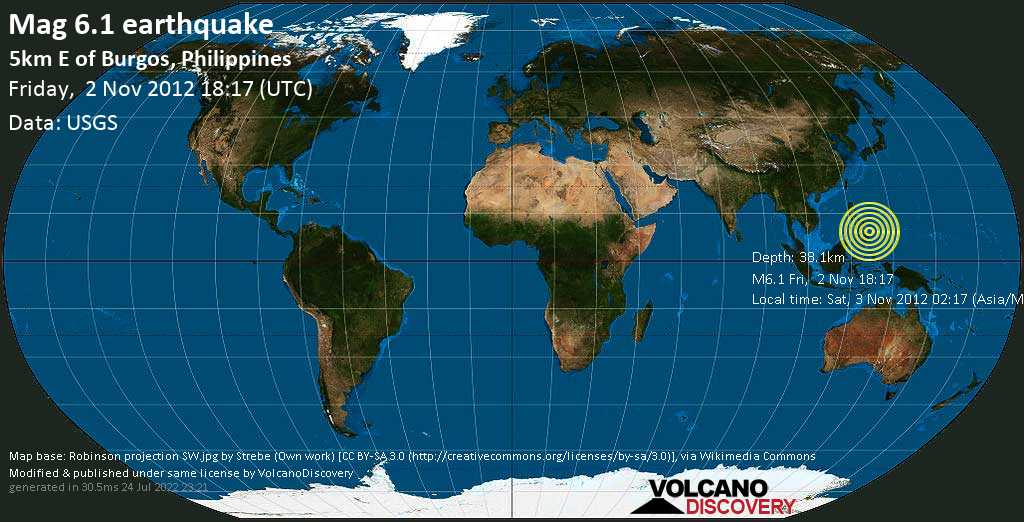 Strong mag. 6.1 earthquake  - 5km E of Burgos, Philippines on Friday, 2 November 2012