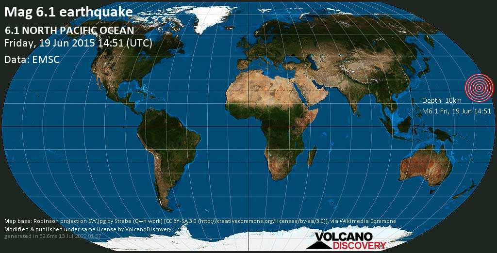 Strong mag. 6.1 earthquake  - 6.1  NORTH PACIFIC OCEAN on Friday, 19 June 2015
