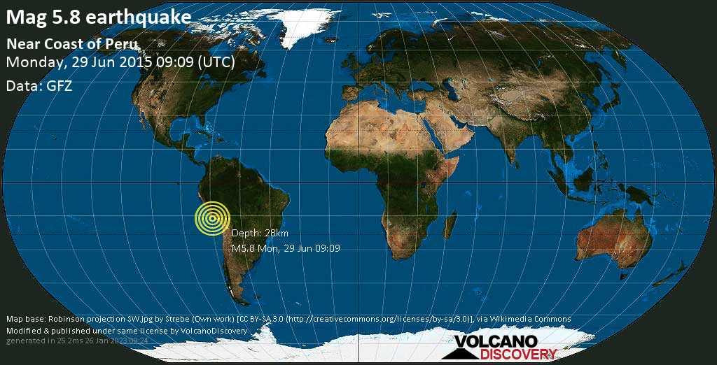 Moderate mag. 5.8 earthquake  - Near Coast of Peru on Monday, 29 June 2015