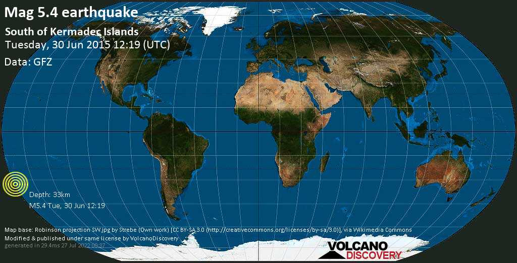 Moderate mag. 5.4 earthquake  - South of Kermadec Islands on Tuesday, 30 June 2015