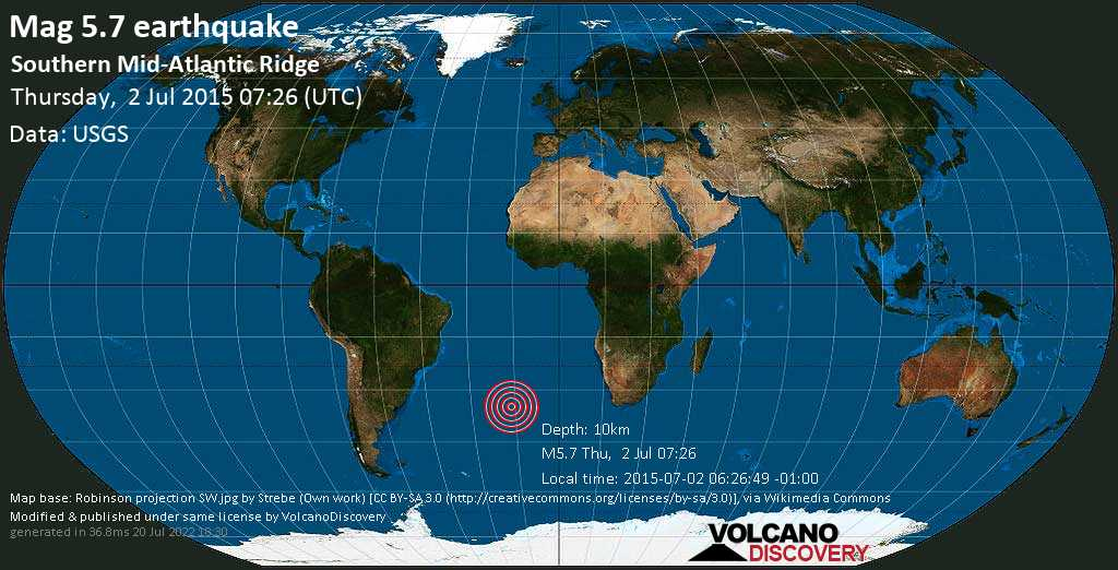 Moderate mag. 5.7 earthquake  - Southern Mid-Atlantic Ridge on Thursday, 2 July 2015