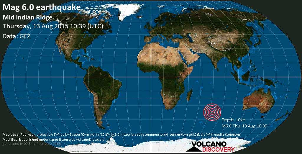 Strong mag. 6.0 earthquake  - Mid Indian Ridge on Thursday, 13 August 2015