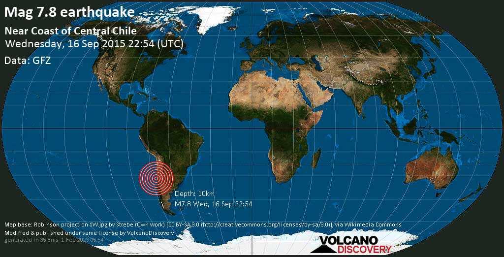 Schweres Erdbeben der Stärke 7.8 - Near Coast of Central Chile am Mittwoch, 16. Sep. 2015