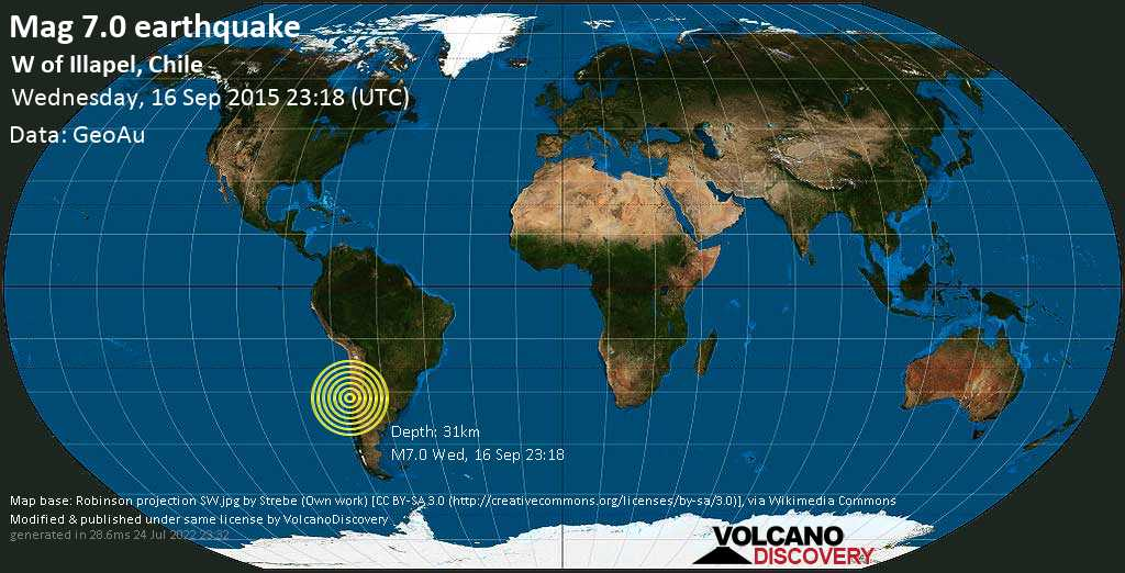 Major mag. 7.0 earthquake  - W of Illapel, Chile on Wednesday, 16 September 2015
